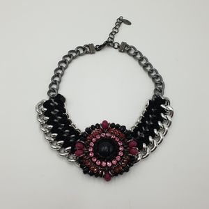 Peeptoe Silver Chain Link Pink Crystal Beaded Circular Statement Necklace